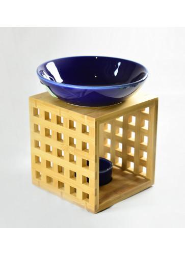 Holzduftlampe blau, Fair Trade