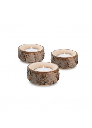 Holz Deko Dreierset Kerzenhalter