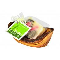 Seifenhalter aus Olivenholz Geschenkset mit Zirbenseife