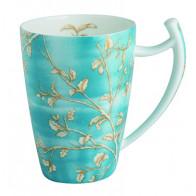 Porzellan Tee-Becher magnum, blau, Goldzweige Dekor