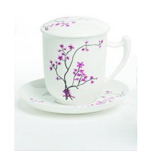 Porzellan Tee Tasse Kirschblüte mit Edelstahlfilter