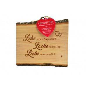 Erlenholzbrett mit Sinnspruch Lebe-Lache-Liebe