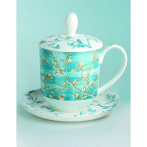 Porzellan Tee Tasse Goldzweig/blau Dekor